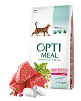 Optimeal High in Veal 10кг- корм для кошек с телятиной