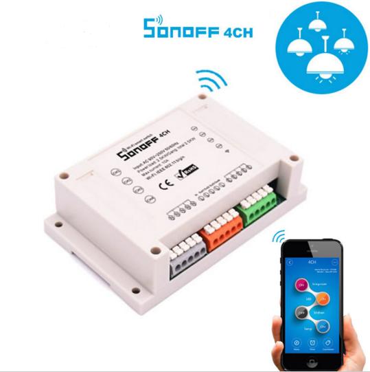 Sonoff 4CH  10А 2200W 4-Канальный WiFi выключатель