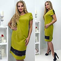 Женское летнее платье оливкового цвета большие размеры, фото 1