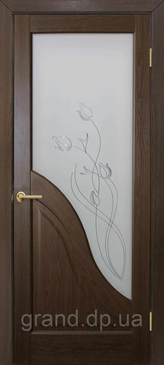 """Дверь межкомнатная """"Габриэлла СС+КР ПВХ"""" с рисунком, цвет каштан"""