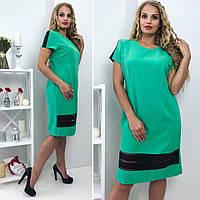 Женское летнее платье бирюзового цвета большие размеры, фото 1