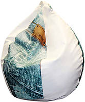 Кресло-груша с принтом Bubble Джинс H100