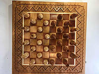 Шахмати нарди настільна гра 2 в 1 з натурального дерева ручної роботи, фото 1