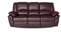 """Коричневый кожаный диван """"ALABAMA"""" с реклайнером (199см)"""