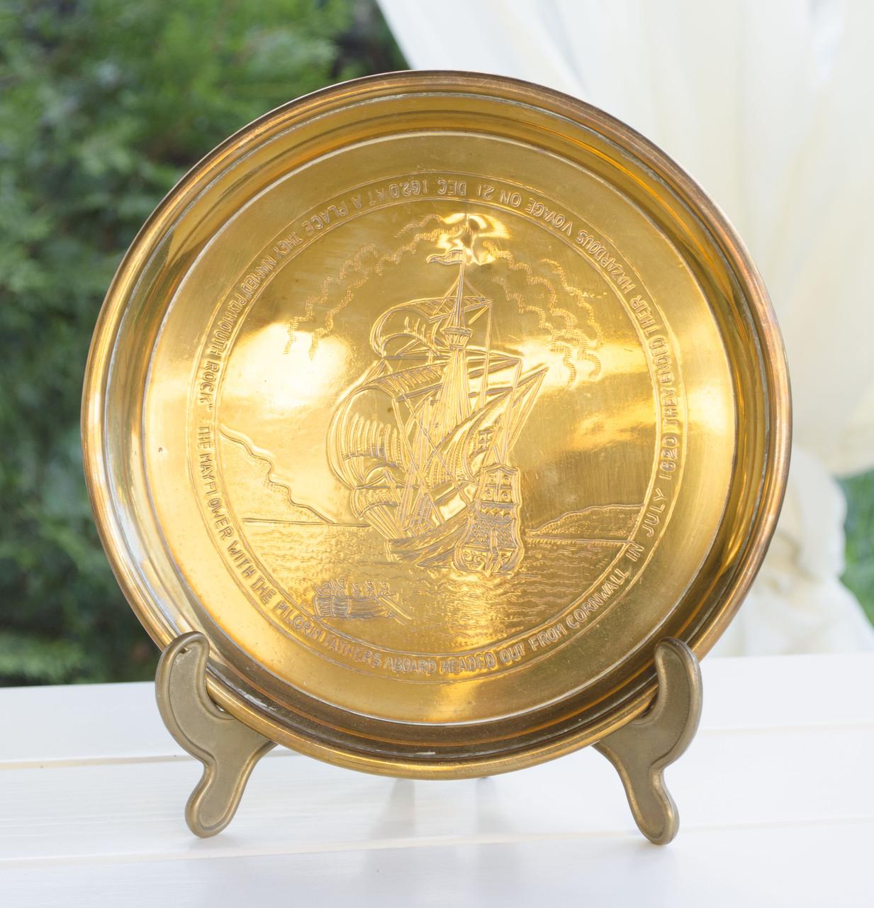 Настенная латунная тарелка, латунь, Англия, Корабль