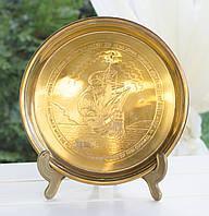 Настенная латунная тарелка, латунь, Англия, Корабль, фото 1