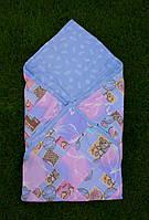 """Конверт-одеяло для новорожденных """"в перышки и мишки"""""""
