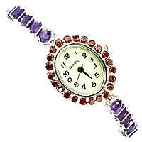 Серебряные Часы с Натуральными Аметистами Гранатами и Перламутром