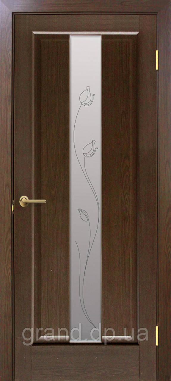 """Дверь межкомнатная """"Тиффани ПВХ"""" со стеклом и рисунком, цвет каштан"""