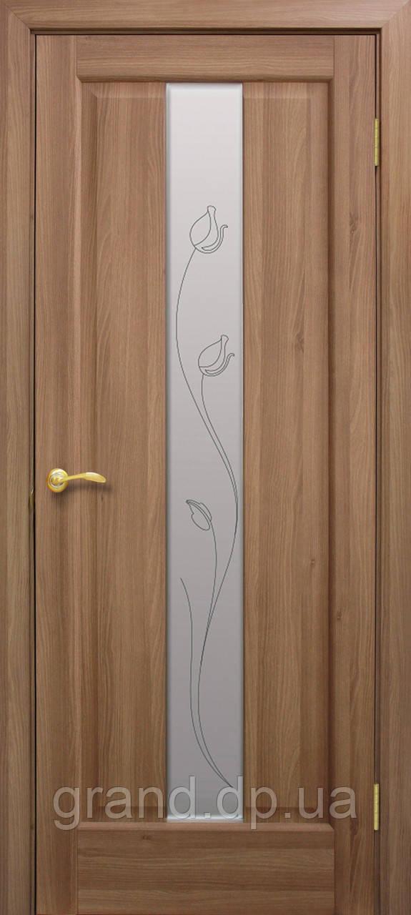 Двери межкомнатные Тиффани ПВХ СС+КР со стеклом и рисунком, цвет дуб золотой
