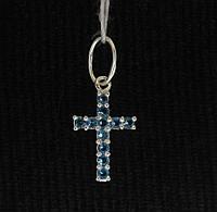 Крест серебро 925 проба №3087 С ГОЛУБЫМИ КАМНЯМИ