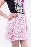 Короткая розовая женская юбка с гипюром