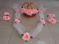 Свадебный комплект украшений для авто (№ 3) нежно-розовый