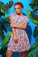 Идеальное летнее платье  №1738 р. 42 бежевые бабочки
