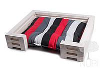 Лежак для кота и собаки Lukoshko White с матрасиком Sonno Red