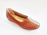 Кожаные женские туфли мокасины эко кожа на танкетке повседневные удобные легкие 38 размер Inblu JM-2T 021