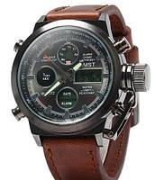 Ударопрочные кварцевые армейские часы AMST Оригинал Коричневые
