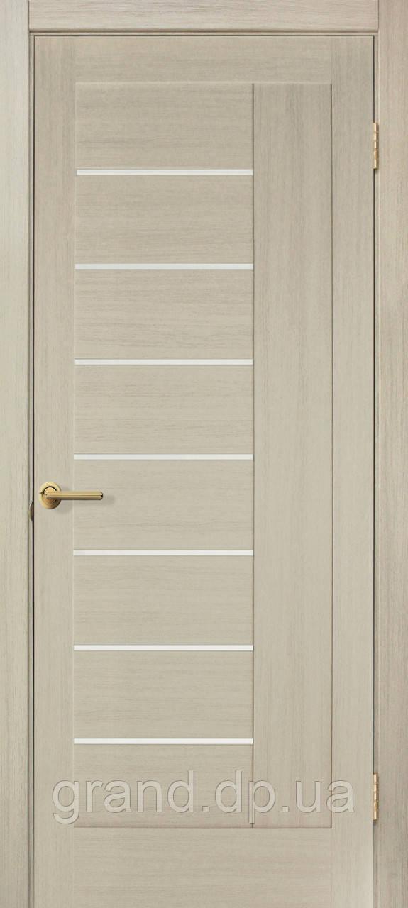 Двери межкомнатные Омис Фелиция ПВХ  с матовым стеклом, цвет дуб беленый