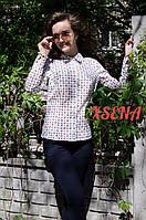 Рубашка длинный рукав, выточки, карты на белом