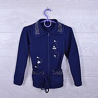 """Кофта вязанная школьная """"Цветы""""  для девочек. 128-146 см. Синяя. Школьная форма оптом"""