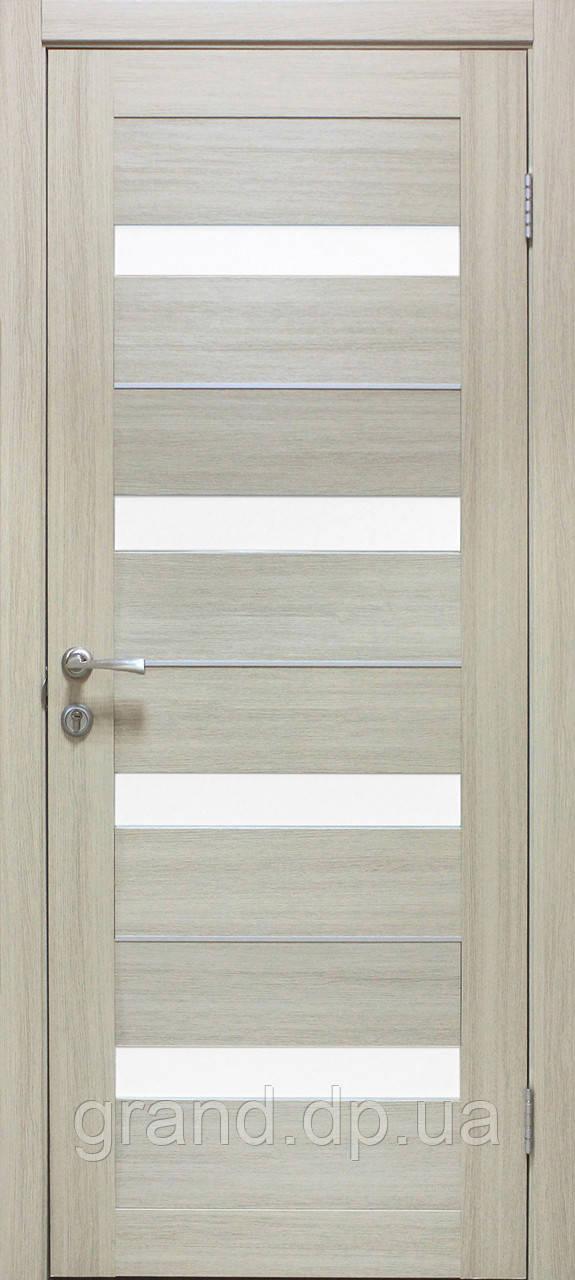 Двери  межкомнатные Омис Милано ПО ПВХ с матовым стеклом, цвет дуб беленый