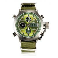 Часы мужские наручные AMST Biden+фирменная коробка в подарок nylon green-silver-green