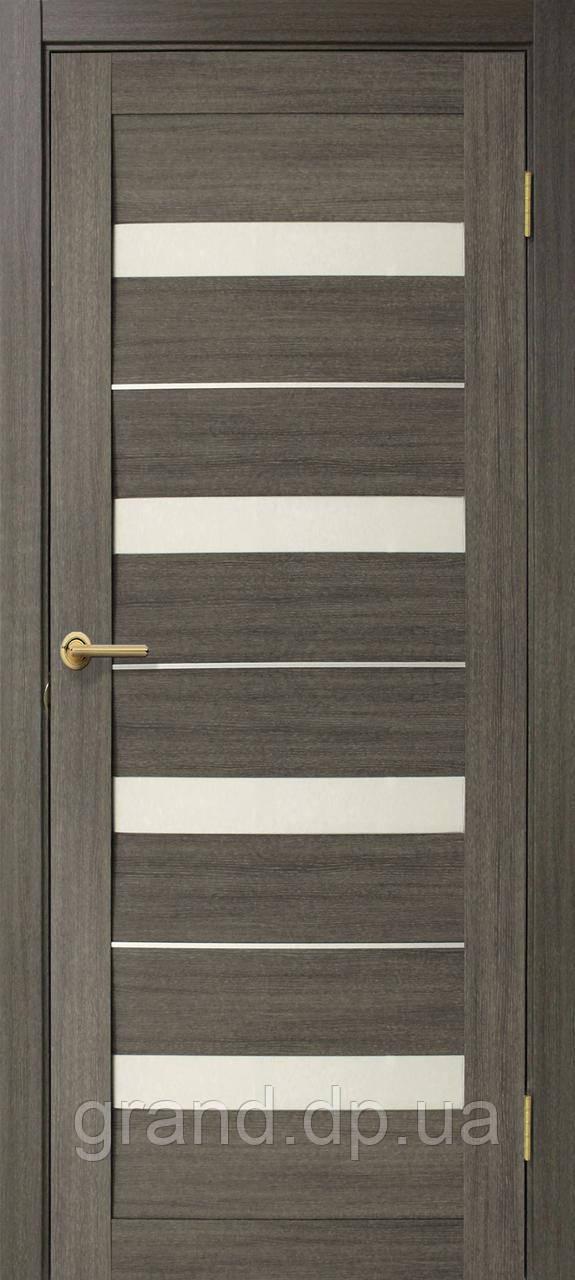 Двери межкомнатные Омис  Милано ПВХ с матовым стеклом, цвет мокко