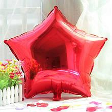 Фольгированный воздушный шар звезда красная 45 см