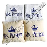 Семейный подарок-Именные полотенца и подушки с короной, фото 1