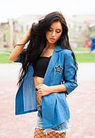 Женские легкий джинсовый пиджак синий с рисунком