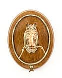 Настенный гонг, голова лошади, дерево, бронза, медь, Англия, фото 4