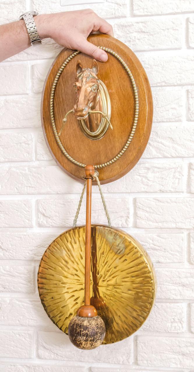 Настенный гонг, голова лошади, дерево, бронза, медь, Англия