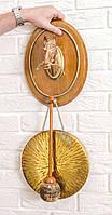 Настенный гонг, голова лошади, дерево, бронза, медь, Англия, фото 1