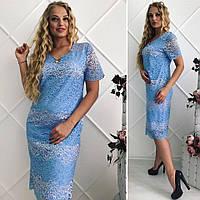 Летнее женское платье большой размер гипюр. Размер 52,54,56,58 , фото 1
