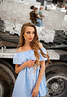 Женская хлопоковая блузка свободного кроя с воланом