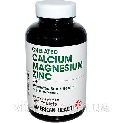 American Health,  кальций, магний и цинк, 250 таблеток, фото 2