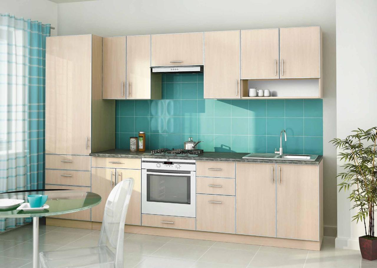 Прямая кухня на заказ молочного цвета изготовление, вариант-005