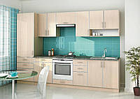 Прямая кухня на заказ молочного цвета изготовление, вариант-005, фото 1
