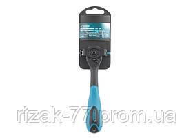 Ключ-трещотка 1/4, 72 зуба, Comfort, с быстрым сбросом, CrV, 2-х комп. рукоятка GROSS