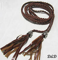 Плетеный пояс коричневый