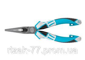 Длинногубцы прямые 170 мм, трехкомпонентные рукоятки GROSS
