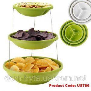 Миска трехуровневая для вечеринок twist fold 3 tiered bowl