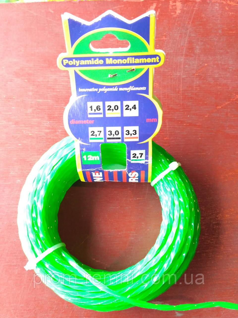 Леска d2.7, зеленая / красная, крученая (для триммера)