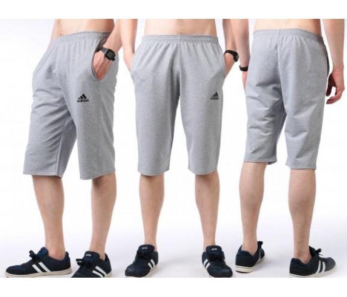 Бриджи мужские спортивные в стиле Adidas (Адидас) серые трикотажные (большие размеры)