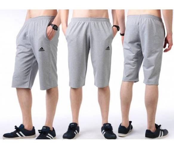 Бриджи мужские спортивные Adidas (Адидас) серые трикотажные (большие размеры)