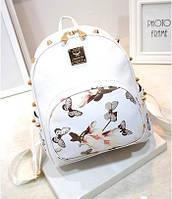 Белый городской рюкзак Цветы,уценка