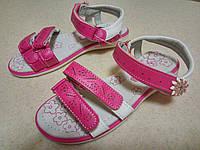 Детские красивые босоножки с кожаной ортопед стелькой девочкам р. 31-36, розово-белые