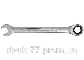 Ключ комбинированный трещоточный, 10мм, CrV, зеркальный хром MTX PROFESSIONAL