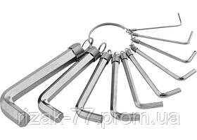 Набор ключей имбусовых HEX, 1, 5–10 мм, CrV, 10шт., никелированный, на кольце SPARTA