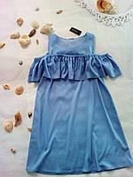 Летнее платье с воланом из котона